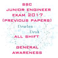 SSC Junior Engineer Exam 2017 All Shift (General Awareness)
