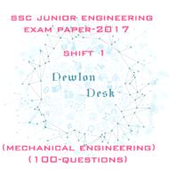 SSC Junior Engineer Exam Paper 2017 Shift-1 (Mechanical Engineering)