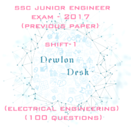 SSC Junior Engineer Exam Paper – 2017 Shift – 1 (Electrical Engineering)