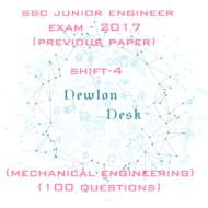 SSC Junior Engineer Exam -2017 Shift-4 (Mechanical Engineering)