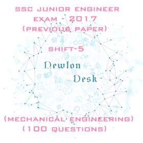 SSC Junior Engineer Exam Paper -2017 Shift-5 (Mechanical Engineering)