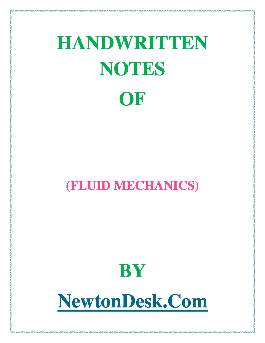 fluid mechanics notes 31 fluid particles and trajectories in lagrangian view of fluid motion           48  goal of these lecture notes to help students in this process of gaining an understanding of, and an appreciation for, fluid motion—what can be done with it, what it might do to you, how to analyze.