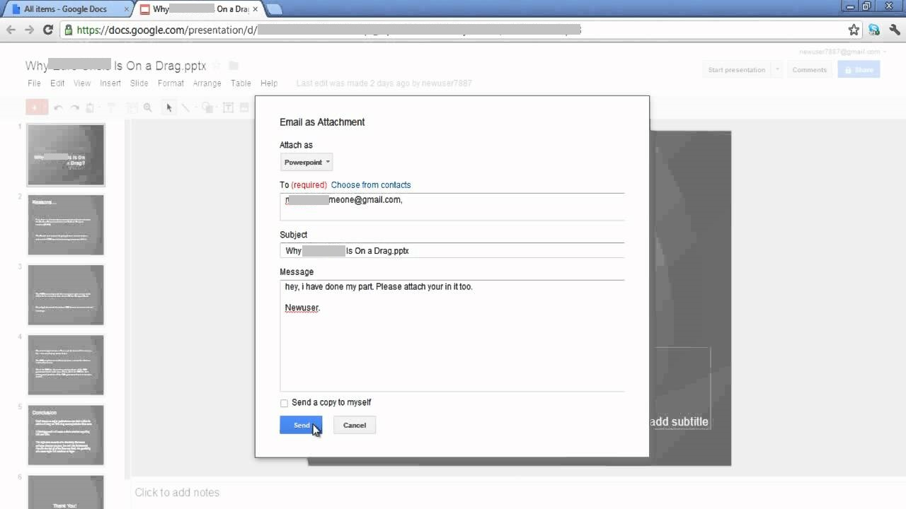 emal documents in google docs