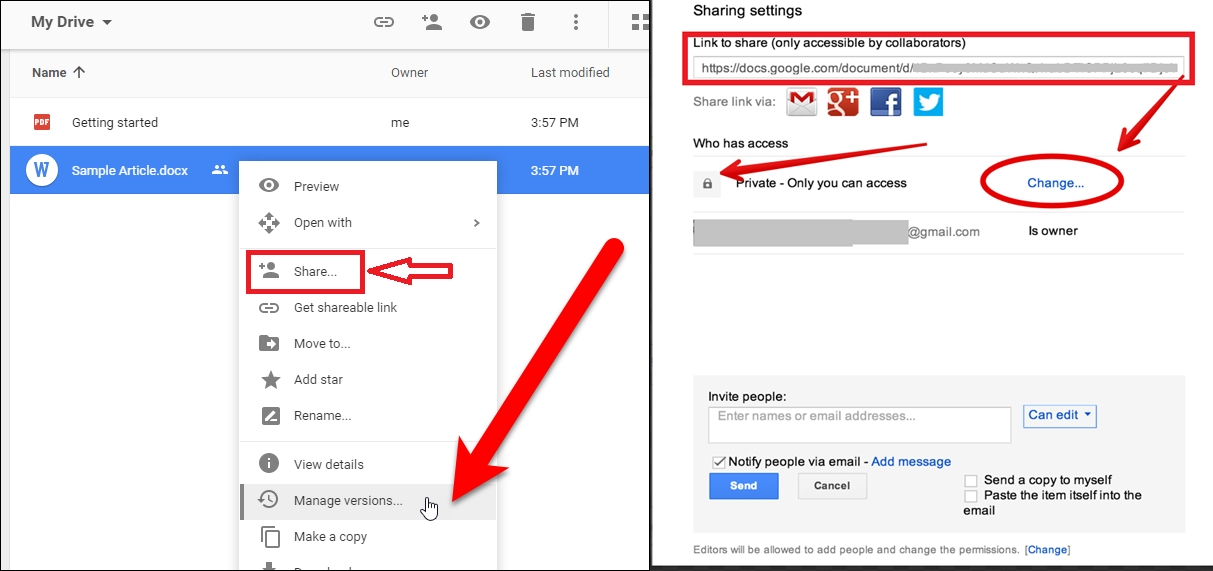 share link in google docs