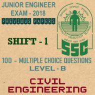 SSC Junior Engineer Exam Paper 2018 Shift-1 (Civil Engineering)