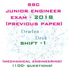 SSC Junior Engineer Exam Paper 2018 Shift-1 (Mechanical Engineering)