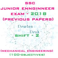 SSC Junior Engineer Exam Paper 2018 Shift-2 (Mechanical Engineering)