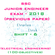 SSC Junior Engineer Exam Paper 2018 Shift-6 (Electrical Engineering)