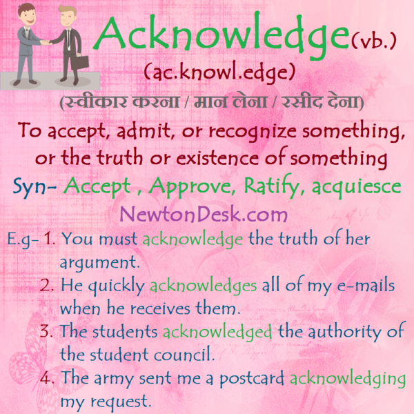 Acknowledge – To Accept or Recognize Something