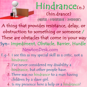 Hindrance – These Are Obstacles That Come In Your Way