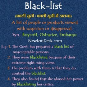 Black List – List Of Suspicion or Disapproval