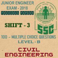 SSC Junior Engineer Exam Paper 2018 Shift-3 (Civil Engineering)