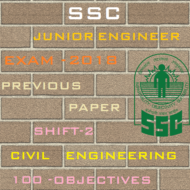 SSC Junior Engineer Exam Paper 2018 Shift-2 (Civil Engineering)
