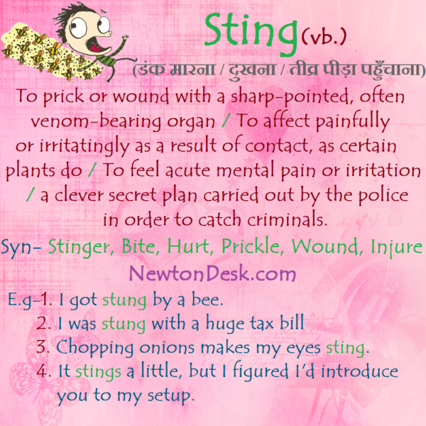 Sting – To Prick or Wound With A Sharp-Pointed