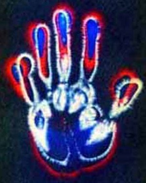 kirlian photography of hand