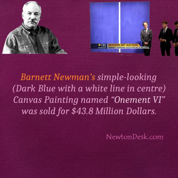 Barnett Newman's Painting Sold for $48 Million Dollar