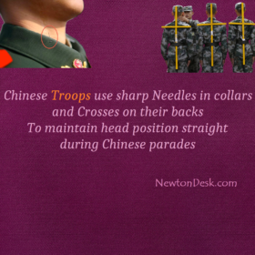 Chinese Soldiers Trained In Posture By Pins And Crosses