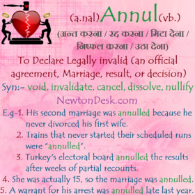 Annul Meaning – To Declare Legally invalid An Official Agreement