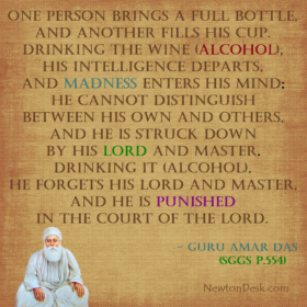 Drinking Wine Punished In Court of The Lord – Guru Amar Das ji Quotes