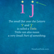 """Dot Over The Letters """"i"""" and """"j"""" Is Called A Tittle"""