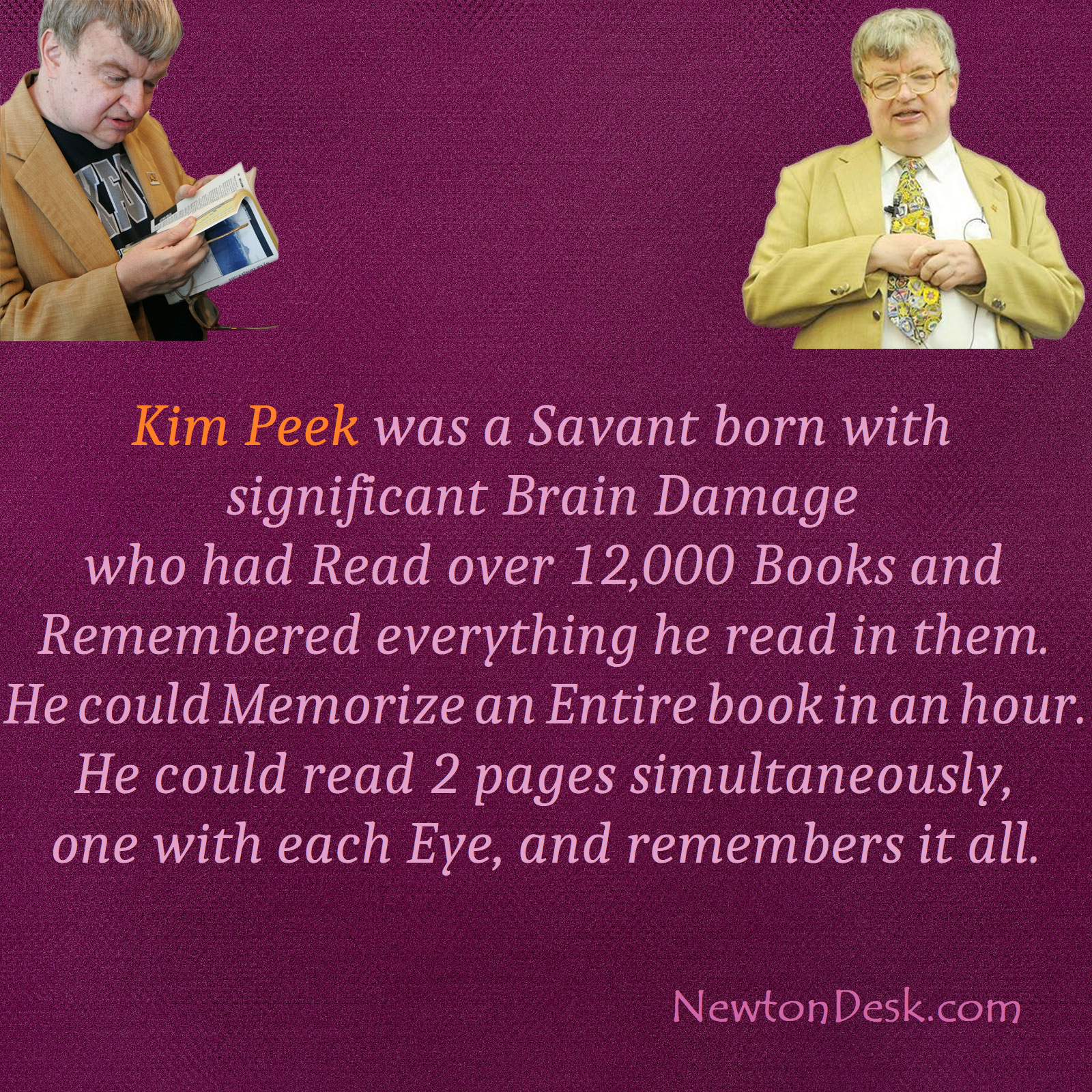 Kim Peek The Real Rain Man Savant Syndrome Human Facts