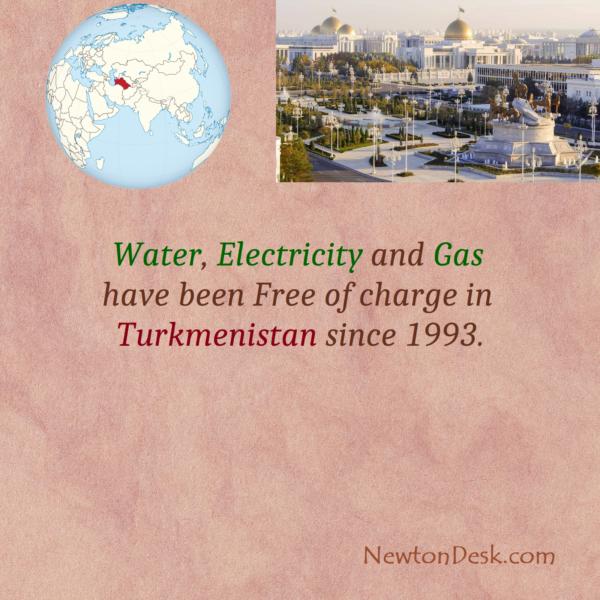 Water, Electricity & Gas Free In Turkmenistan Since 1993