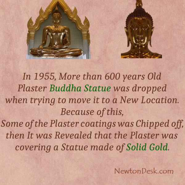 600 Years Old Plaster Golden Buddha Statue