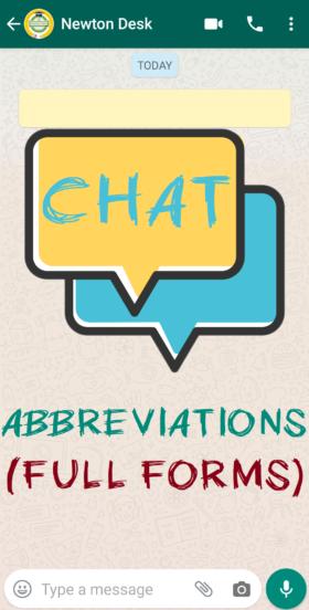 Whatsapp, Facebook, Instagram Short Chat Abbreviations