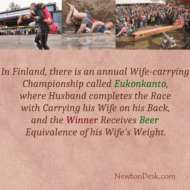 Wife Carrying Championship or Eukonkanto Winner Get Beer In Finland