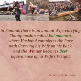 Wife Carrying Championship or Eukonkanto Winner Get Beer In Finland