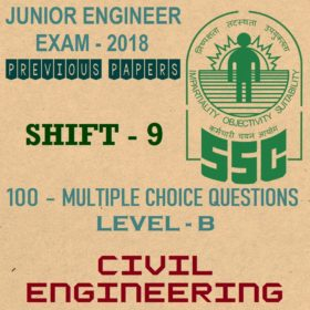 SSC JE Previous Question Paper 2018 Shift 9 (Civil Engineering)